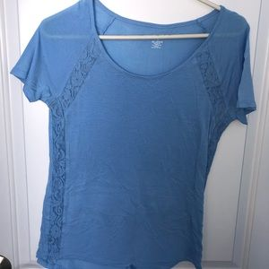 Light Blue A.N.A T-Shirt with Lace Detailing Small
